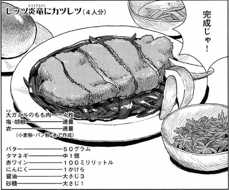 ダンジョン飯23話センシの料理レッツ炎竜にカツレツ.png
